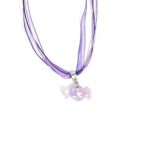 Collier rubans bonbon violet