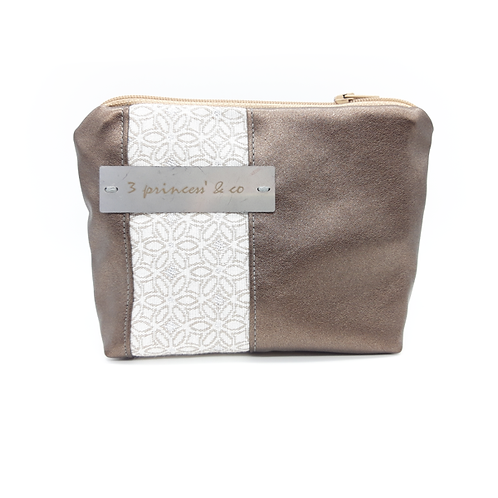 Grand porte-monnaie/mini pochette simili chocolat