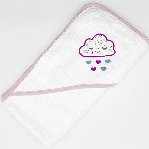 Cape de bain brodée nuage/cœurs
