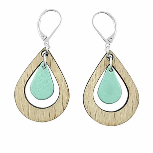 Boucles d'oreilles en bois eco-responsable et cuir recyclé turquoise