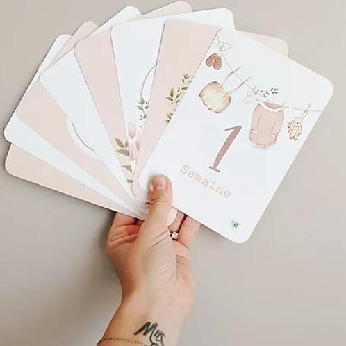 Pack de 26 cartes étapes - Collection d'antan rose