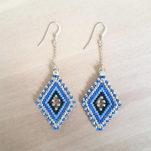 Boucles d'oreilles perles Miyuki tissées Lina bleu