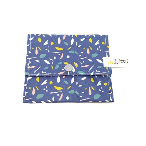 Pochette à savon coton bio enduit - bleu confettis