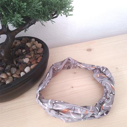 Headband tissus gris feuillage moutarde & blanc