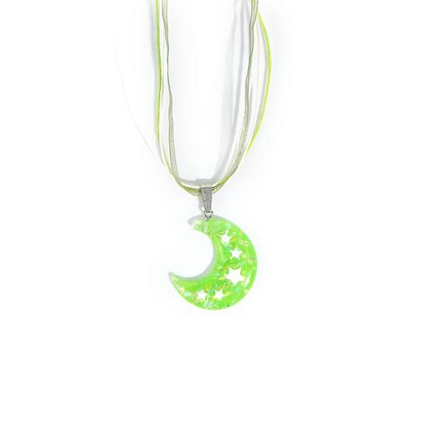 Collier rubans lune vert