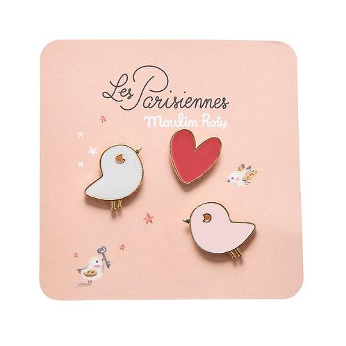 Set de 3 pin's Les parisiennes oiseaux/coeur