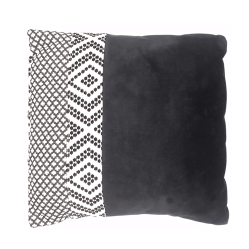 Grand coussin carré noir et blanc