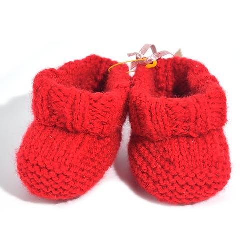Chaussons de naissance en crochet rouges
