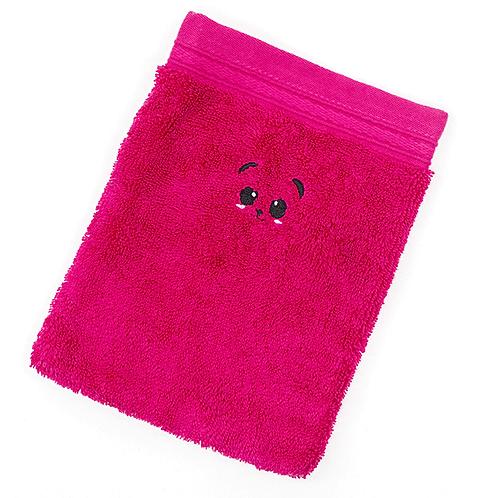Grand gant de toilette fushia brodé petit panda