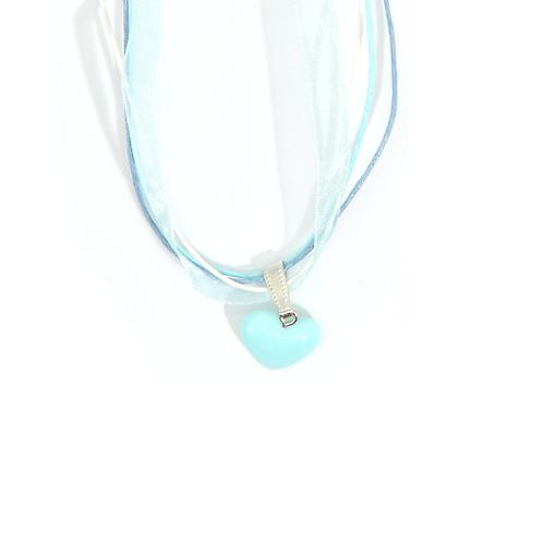 Collier rubans coeur bleu ciel