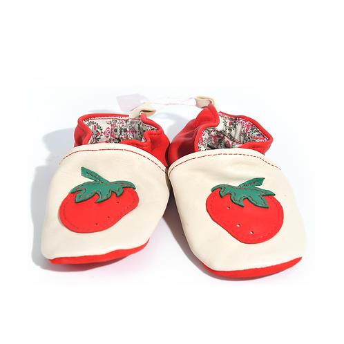 Chaussons en cuir souple fraises