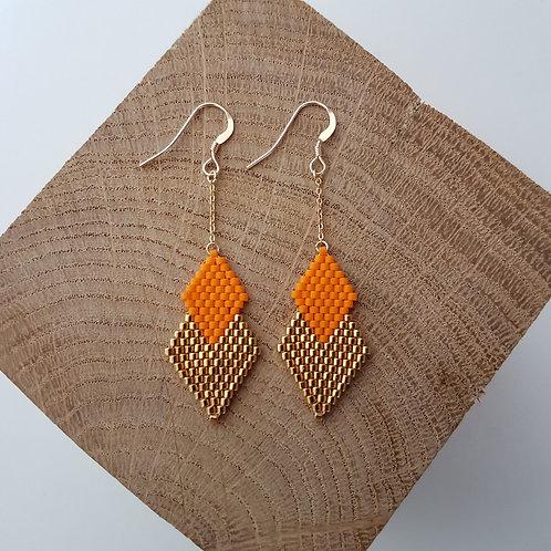 Boucles d'oreilles PENELOPE en perles Miyuki tissées - orange