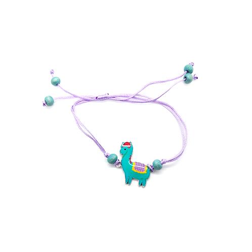 Bracelet réglable enfant lama vert violet