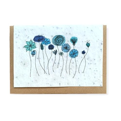 """Carte à planter """"champs de fleurs bleues"""""""""""
