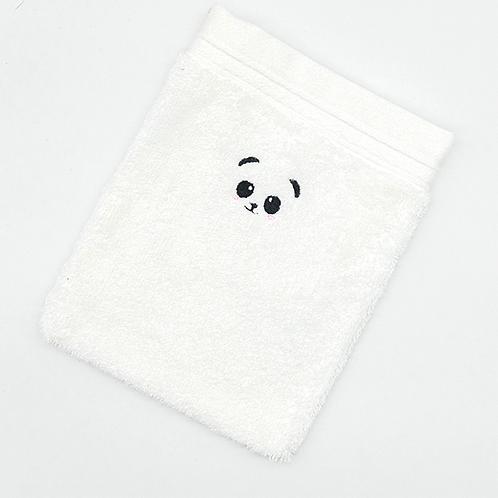 Grand gant de toilette blanc brodé petit panda