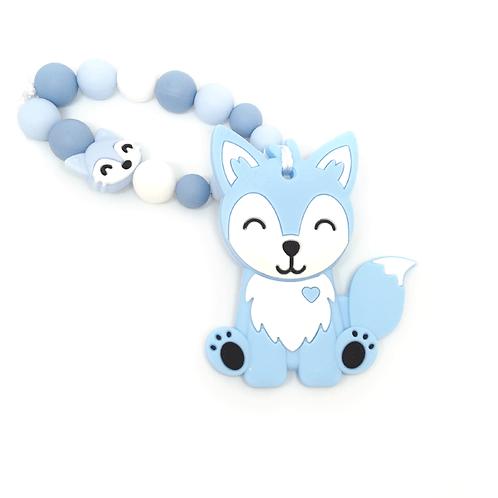 Hochet de dentition renard bleu