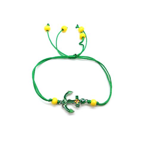 Bracelet enfant réglable ancre marine vert