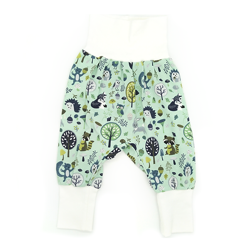 Pantalon évolutif vert animaux de la forêt