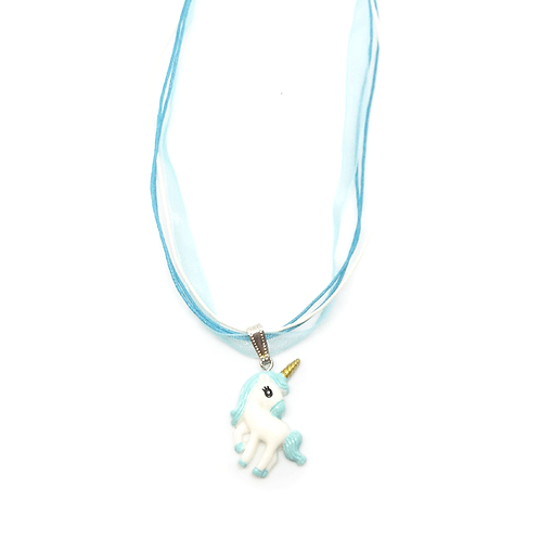 Collier rubans licorne turquoise et blanc