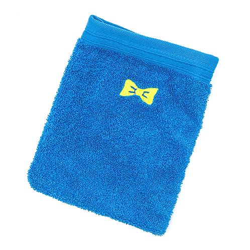 Grand gant de toilette bleu brodé petit nœud jaune