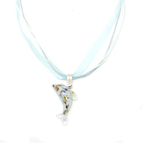 Collier rubans dauphin turquoise pailleté