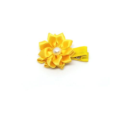 barrettes fleur jaune et perle blanche