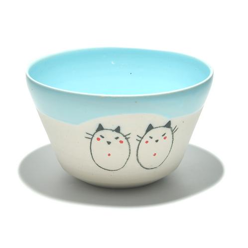 Bol en céramique chats jumeaux