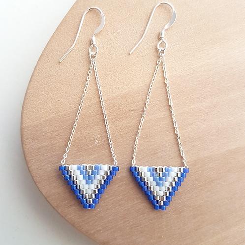 Boucles d'oreilles perles Miyuki tissées Alexandra bleu