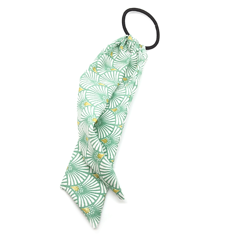 Chouchou foulard vert feuilles de palmier