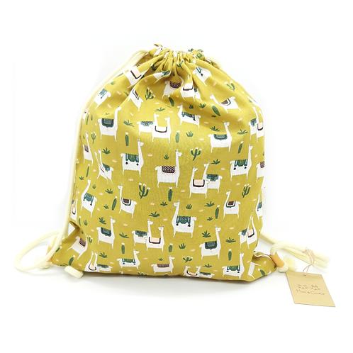 Petit sac à dos souple lamas moutarde