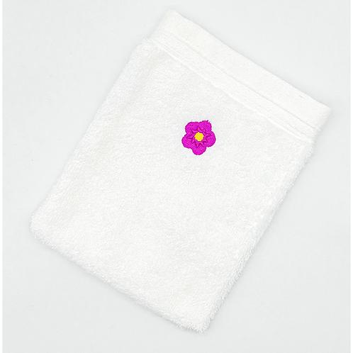 Grand gant de toilette blanc brodé petite fleur fushia