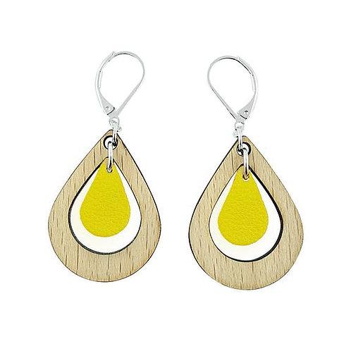 Boucles d'oreilles en bois eco-responsable et cuir recyclé jaune