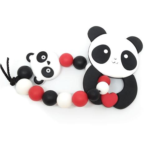 Hochet de dentition panda noir et rouge