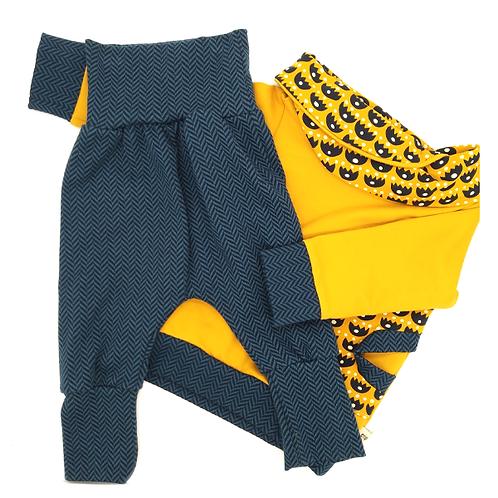 Ensemble sarouel + sweat jaune et gris foncé