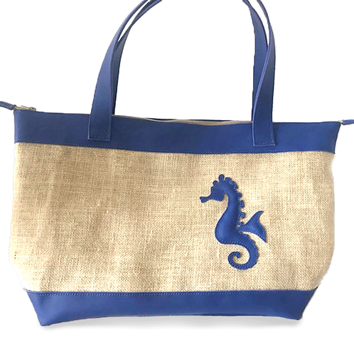 Grand sac en toile de jute et cuir bleu