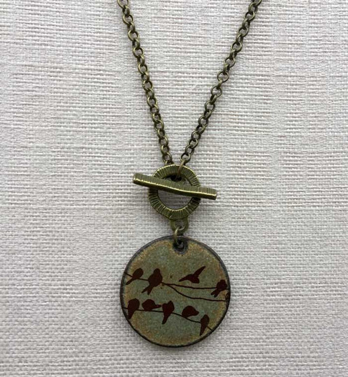 Birds On A Wire Necklace In Earth | Dotti Potts Pottery Studio