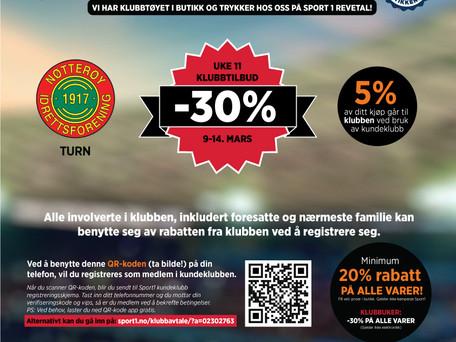Klubbuke hos Sport 1 Revetal - 30% rabatt