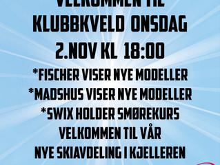Klubbkveld Sport1 Rena  onsdag 2. november kl. 18.00-20.00