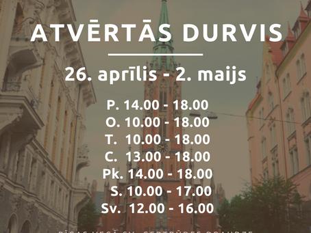 Baznīcas atvērto durvju laiks no 26. aprīļa līdz 2. maijam