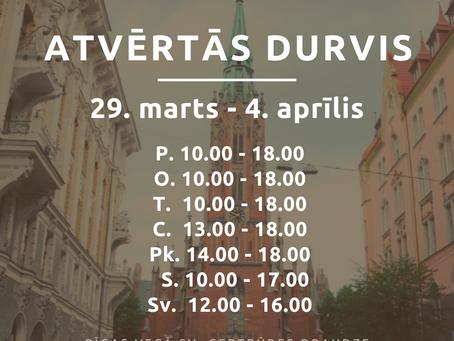 Baznīcas atvērto durvju laiks no 29. marta līdz 4. aprīlim