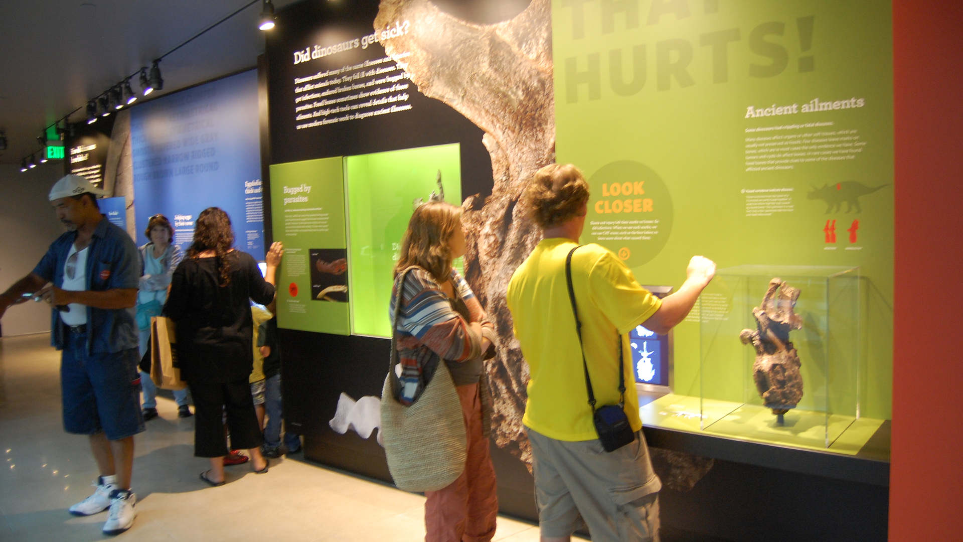 los angeles county museum of natural history featuring the dinosaur hall exhibit with visitors