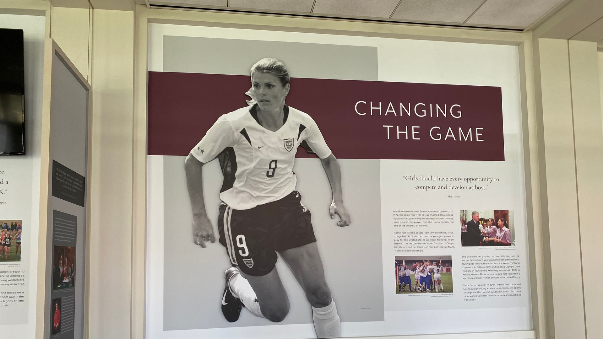 title ix exhibit graphic featuring mia hamm in the richard nixon presidential library