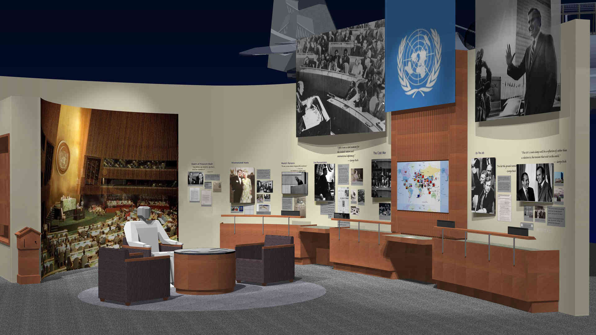 george bush library and museum united nation exhibit rendering