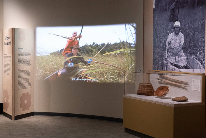 our home native minnesota exhibit photo of projection and artifacts