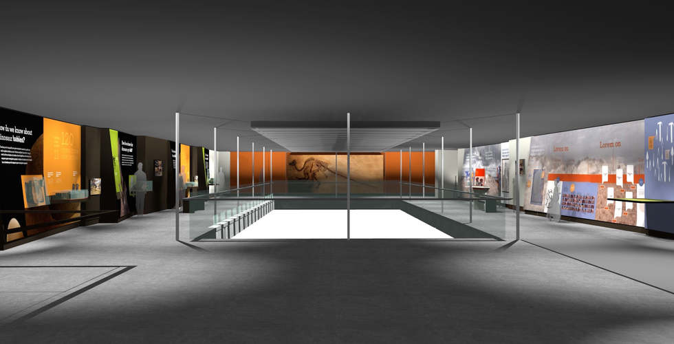 los angeles county museum of natural history featuring the dinosaur hall exhibit renderings