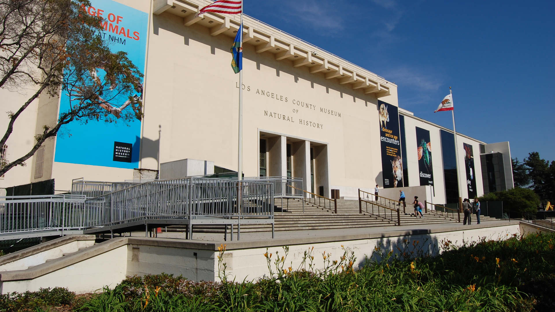 los angeles county museum of natural history building entrance before entering the dinosaur hall