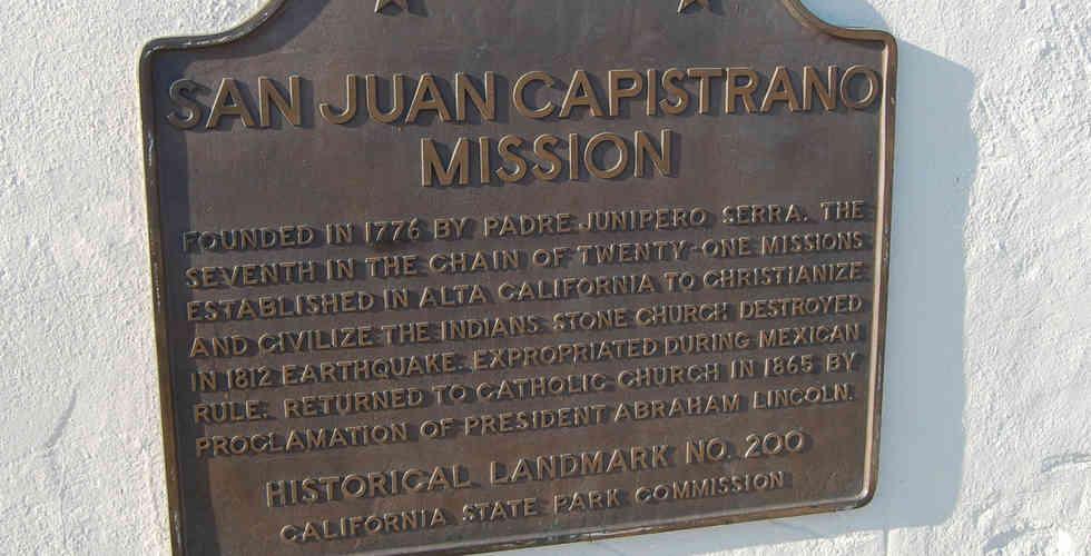 mission san juan capistrano entryway plaque