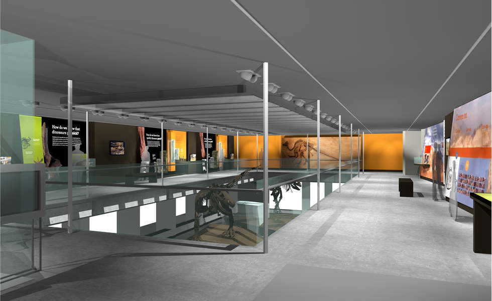 los angeles county museum of natural history featuring the dinosaur hall exhibit rendering and master plan