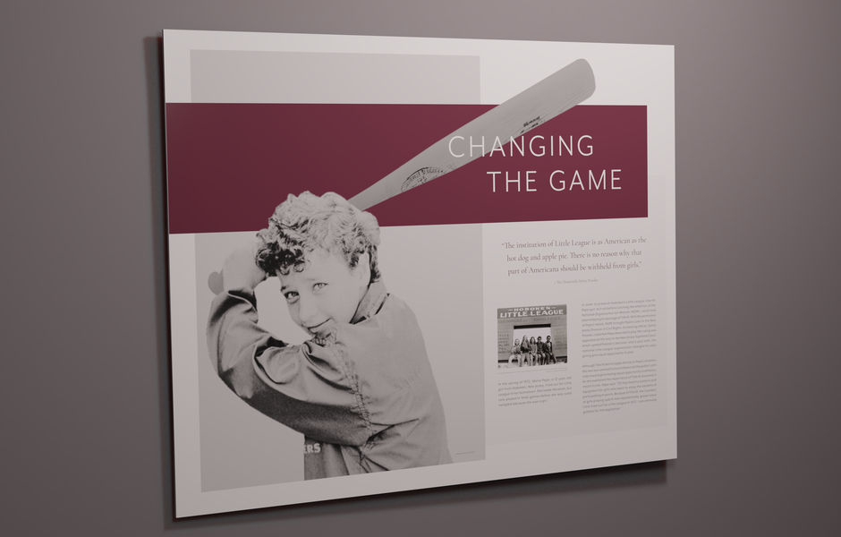 large wall title ix graphic featuring maria pepe
