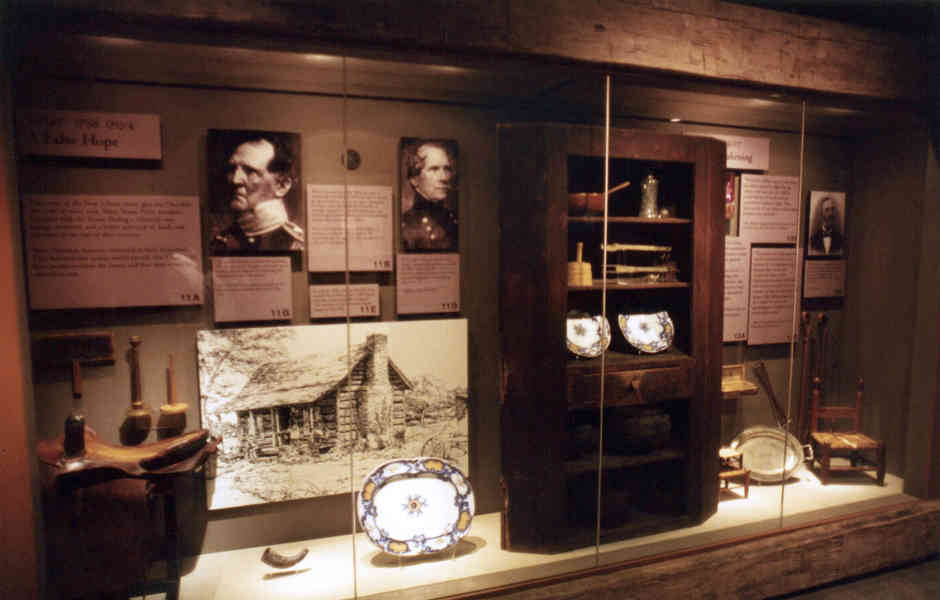 trail of tears museum exhibition artifacts in case